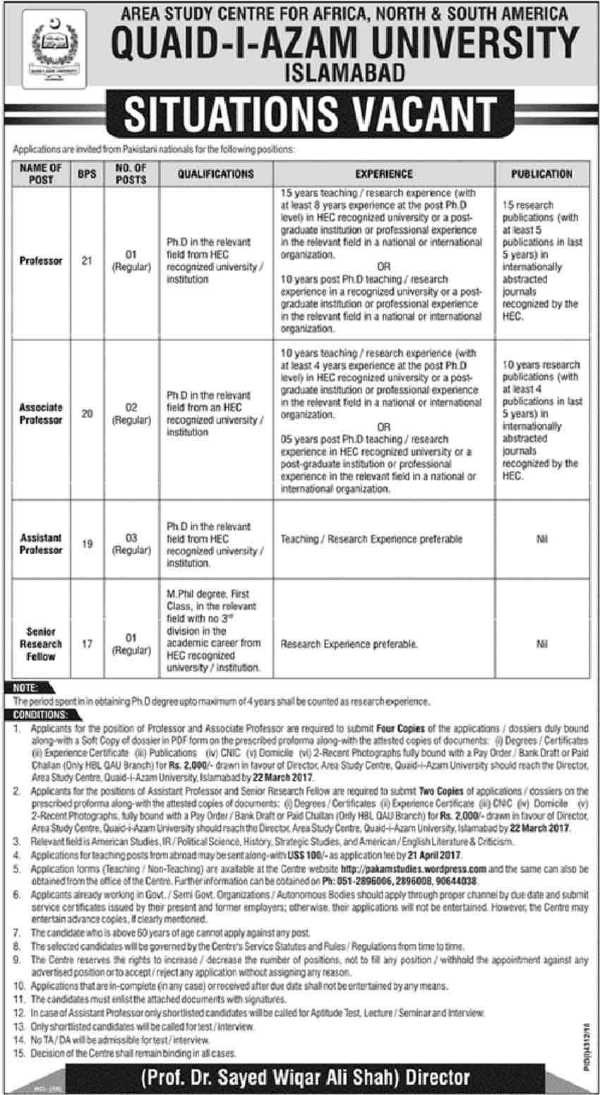 Quaid-e-Azam University Islamabad Jobs 2017