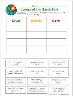 Help your students identify the characteristics of the three different layers of the earth with this free cut and paste Earth Science Printable!