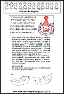 Projeto Carnaval alfabetização