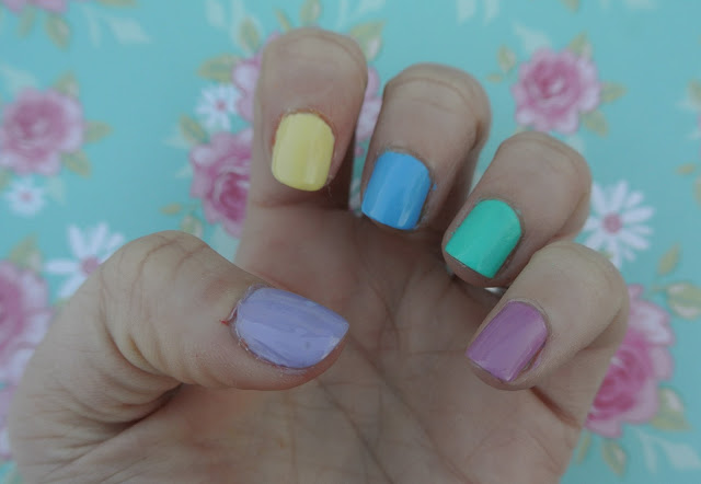 nail swatch of favourite pastels