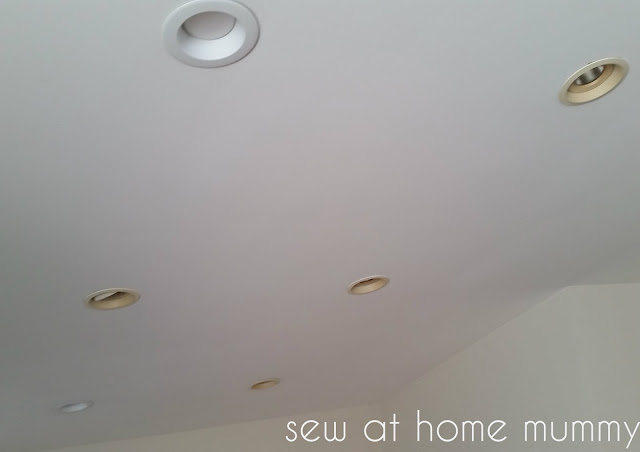 Sew at Home Mummy DIY | quick and easy upgrade to recessed can pot down lights | cheap replacement retrofit recessed lights | LED lights | basement lighting