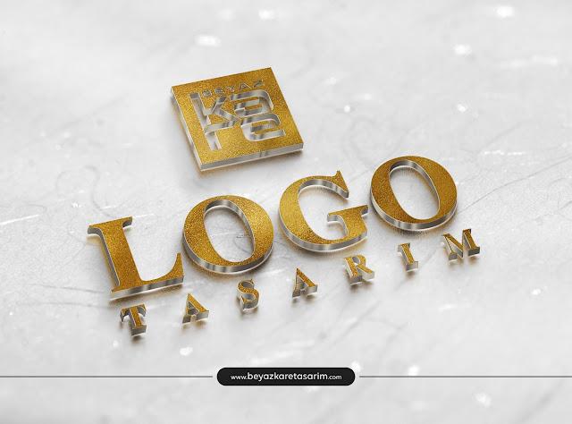 3D logo tasarımı altın kabartmalı