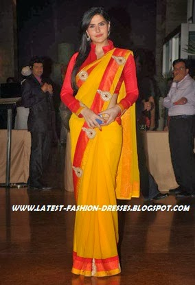 Bollywood actress in yellow saree