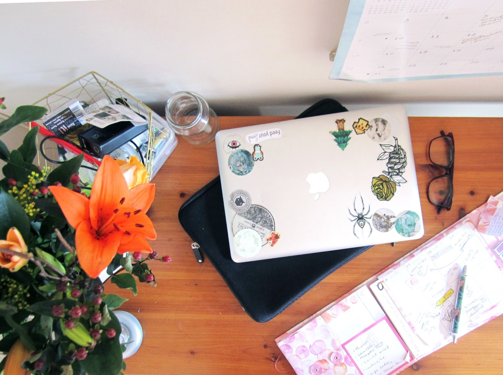 Desk flatlay with flowers