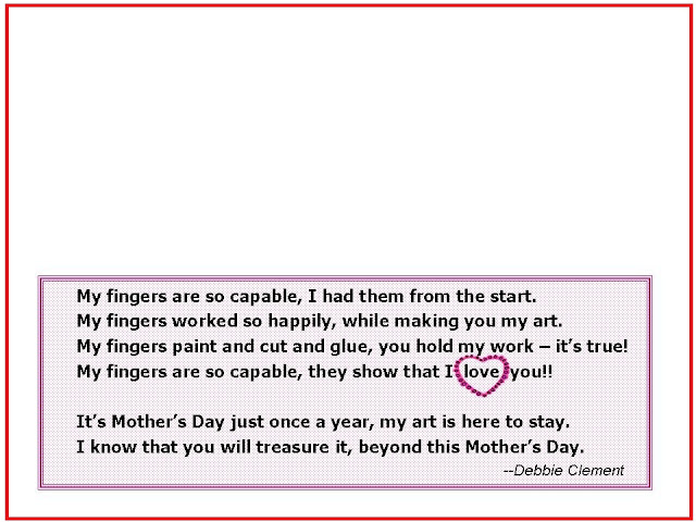 photo of: Mother's Day poem for children, Poem for Mother's Day artwork
