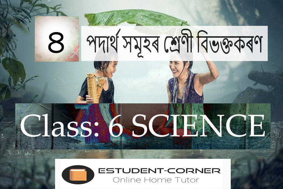 পদাৰ্থ সমূহৰ শ্ৰেণী বিভক্তকৰণ, Lesson 4, Class 6, Science, Solutions in Assamese Medium, SCERT