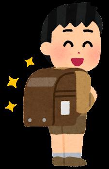 茶色いランドセルを背負う小学生のイラスト(男の子)