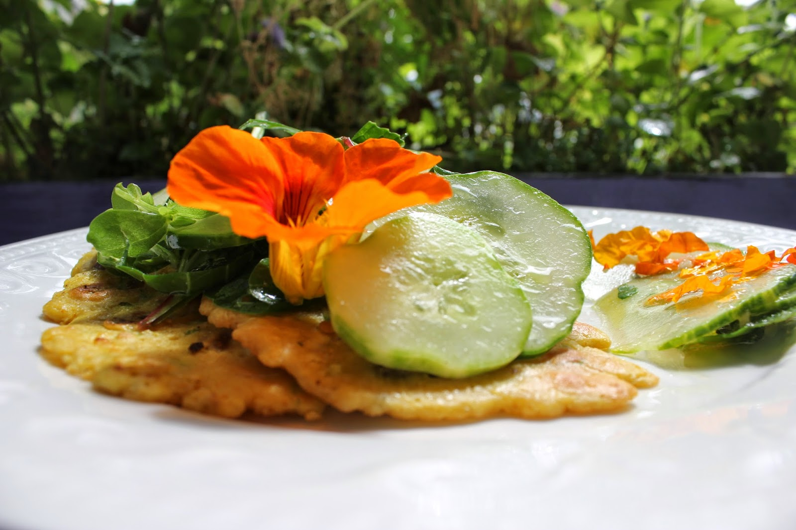 Organic Chickpea pancakes with home-grown salad