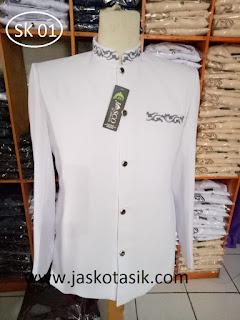 Jas Koko Asli bordir motif saku kerah warna putih terbaru