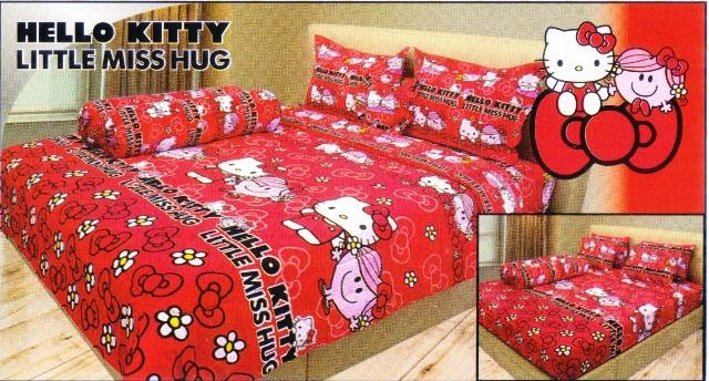 sprei internal motif kartun hello kitty miss hug