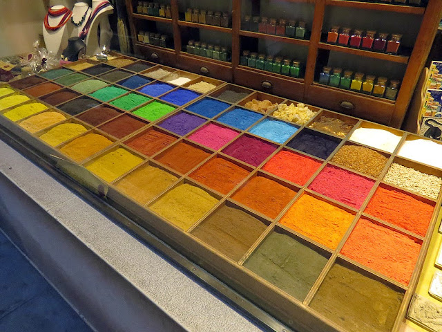 Pigments on display, Ferramenta Arcobaleno, Rainbow Hardware Store, Calle de le Boteghe, San Marco, Venice