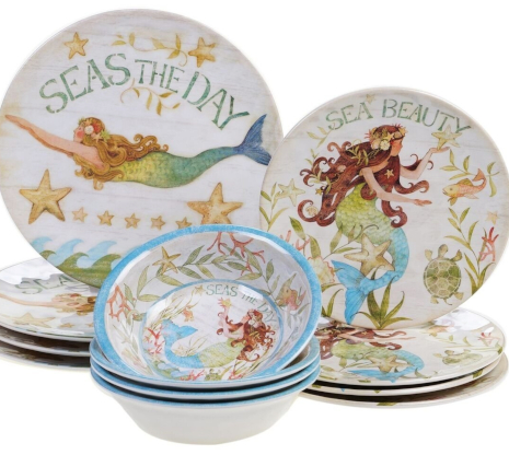 Melamine Mermaid Plates Dinnerware Set