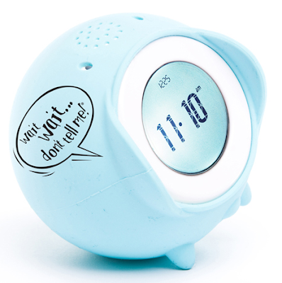 alarm clock, blue, with Wait Wait Don't Tell Me on the side