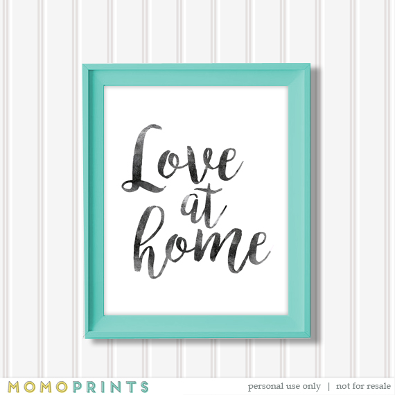 LOVE AT HOME Watercolor Print // This print is so simple and chic and looks great in a colored frame. You can choose from different print sizes and then print at home (or from a photo lab).  This is one of my favorites and I hope you love it too! #lds #love #print #art