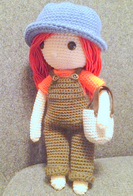 Crochet pattern amigurumi doll girl in coveralls and bag