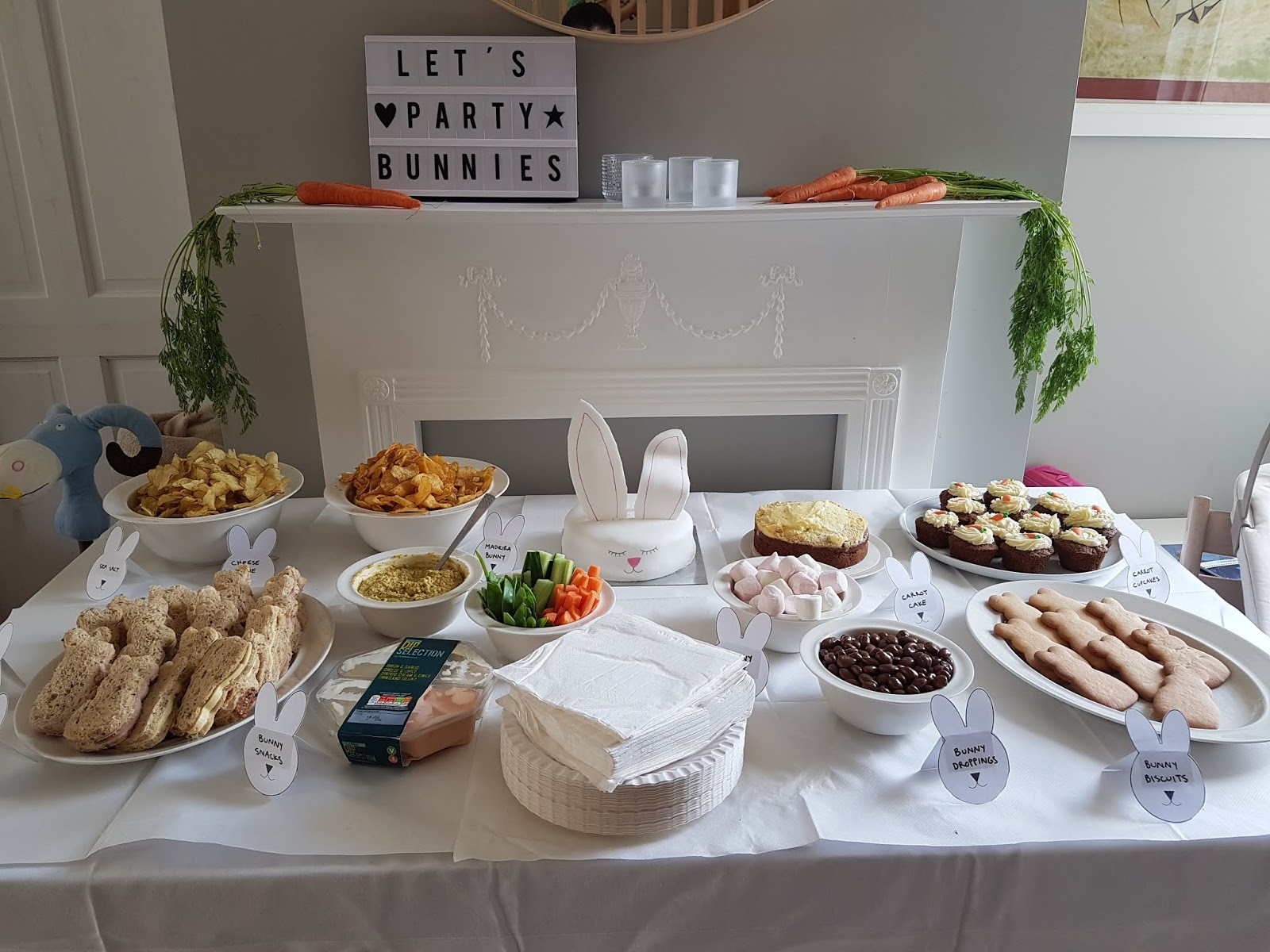 bunny birthday party food table