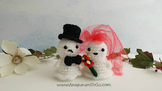 crochet ghost in wedding outfits