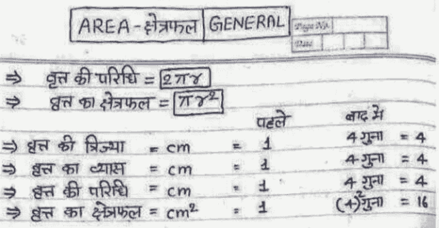 SSC Mathematics Area Topic Complete Handwritten Notes PDF Download