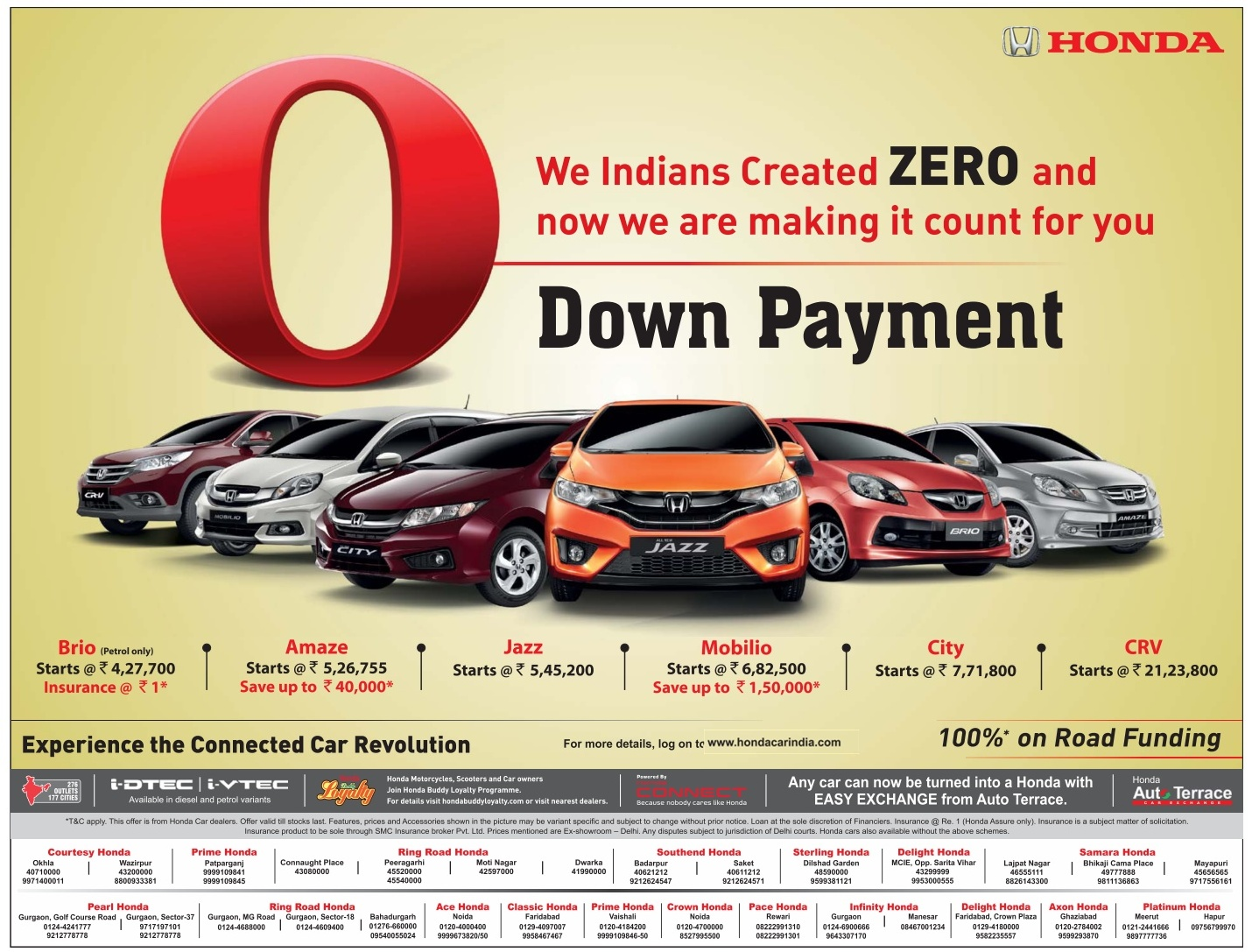 Zero (0) down payment on Honda Cars| 100% on road funding | March 2016 Honda car discount offer sale