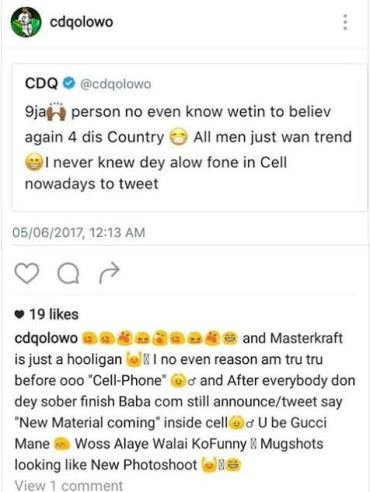 CDQ comes hard on Dammy Krane over his arrest in Miami
