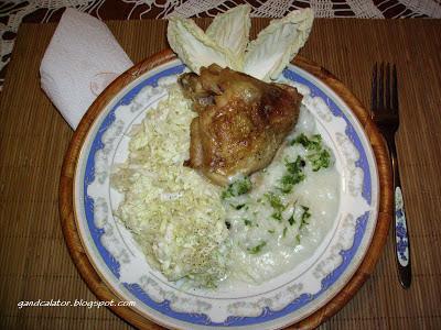 Pilaf with chicken, parsley, bay leaves and black pepper served along with salad of seasoned raw napa cabbage.  Pilaf cu carne de pui, pătrunjel si salată de varză crudă condimentată.