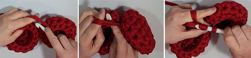 cómo unir dos semiesferas de trapillo en crochet