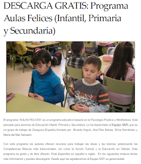 MINDFULNESS. PROGRAMA AULAS FELICES (INFANTIL, PRIMARIA Y SECUNDARIA)