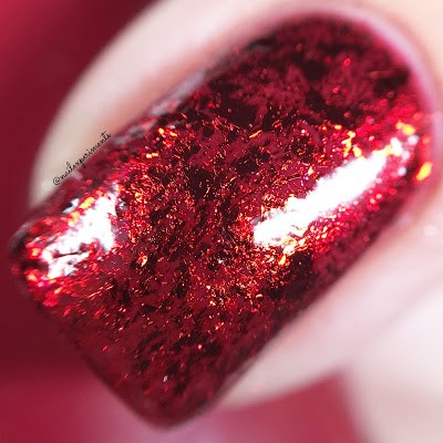 nail stuff red metallic flakes review