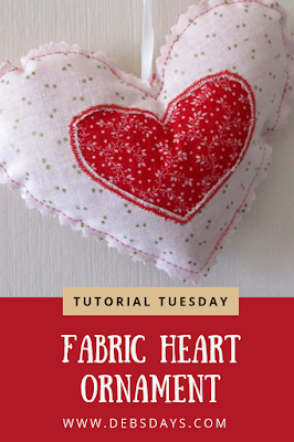 Homemade Fabric Heart Christmas Tree Ornament or Valentine's Day Decoration Sewing Project