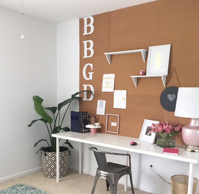 DIY Corkboard Wall for Home Office from #Behindthebiggreendoor