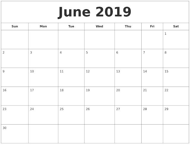 June 2019 Printable Calendar, June 2019 Calendar, June 2019 Calendar Template, Blank June 2019  Calendar, Free June 2019 Calendar, June 2019 Calendar Print, June 2019 Calendar PDF, June 2019  Calendar Holidays, June Calendar 2019
