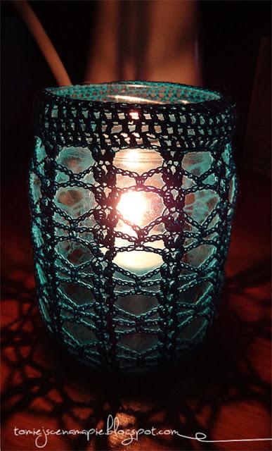 świecznik szydełkowy, cozy jar
