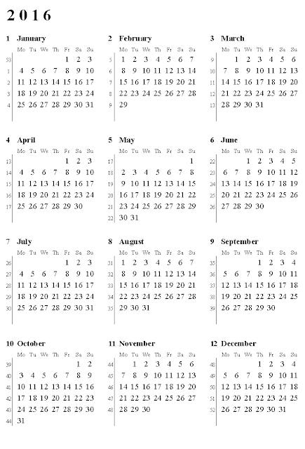 calendar with Week Numbers, 2016 Blank calendar with Week Numbers ...