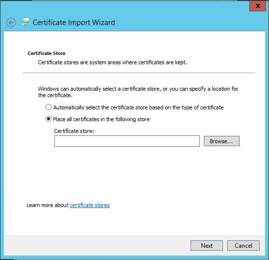 Place all certificate in the following store