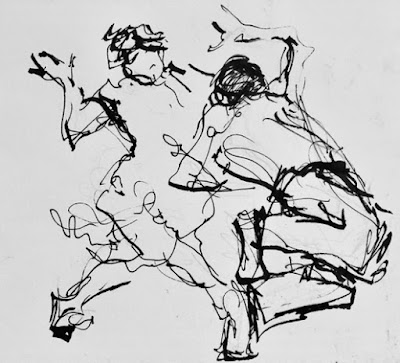 Abstract varied black ink lines on white paper depicting jive dancers