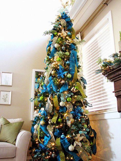 árbol navidad dorado turquesa