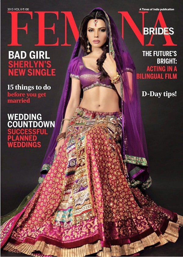 Sherlyn Chopra as bride on Femina Magazine cover