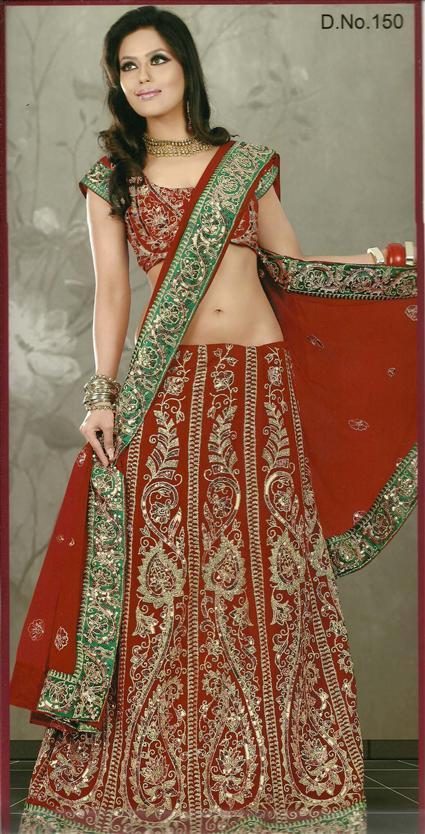 She Fashion Club Green And Red Bridal Lehenga