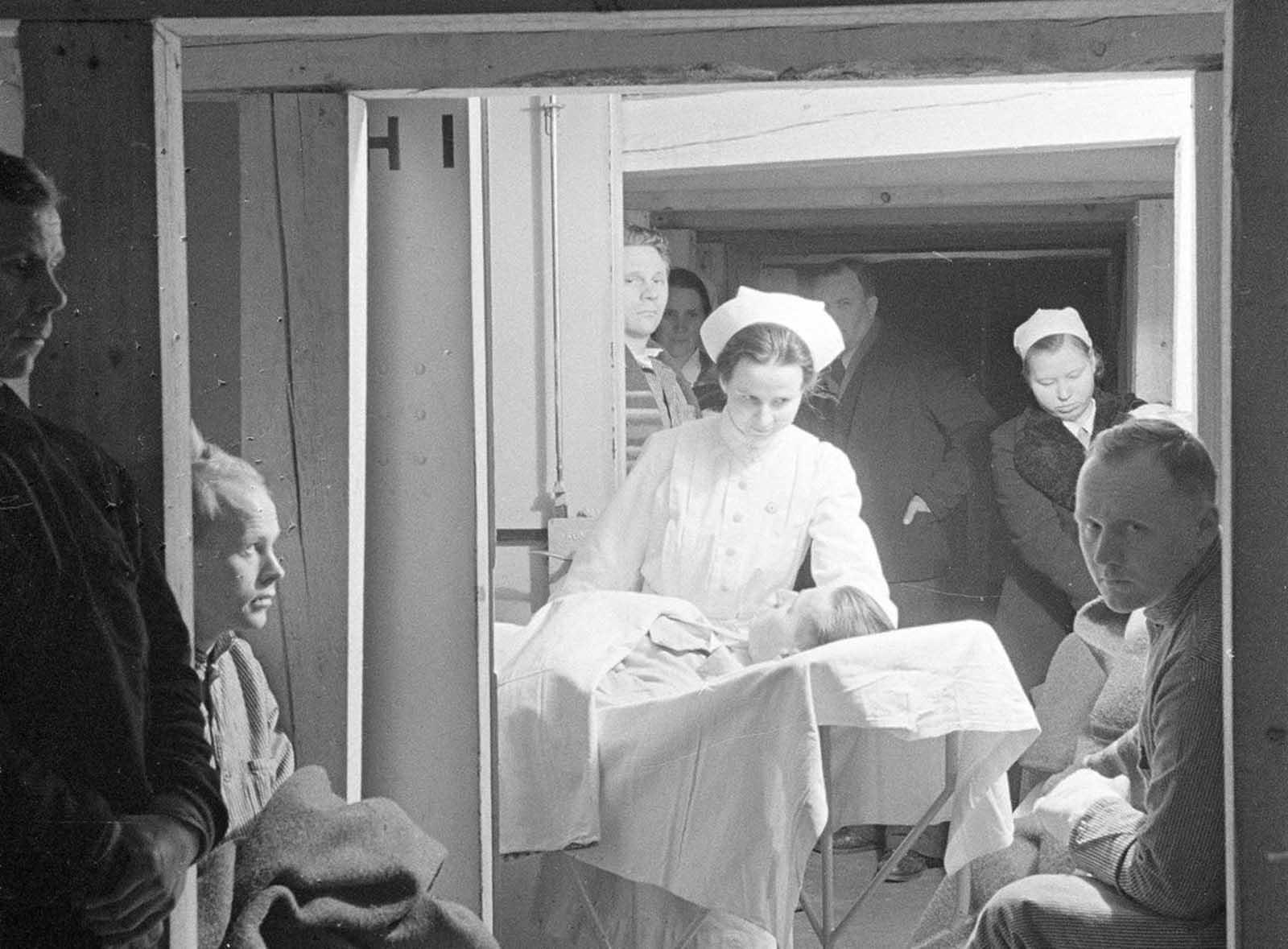 The hospital's bomb shelter in Mikkeli.