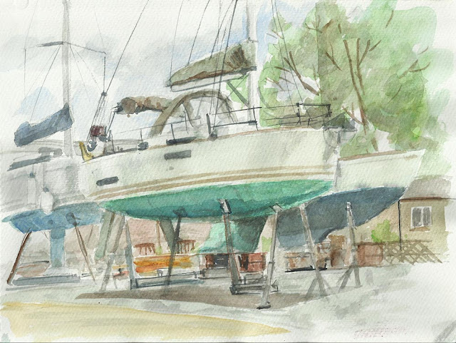 water color boat yard sketch M P Davey