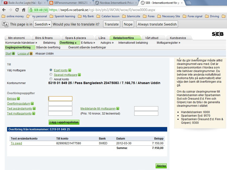All Swedish Bank Online Transfer Instructions How To