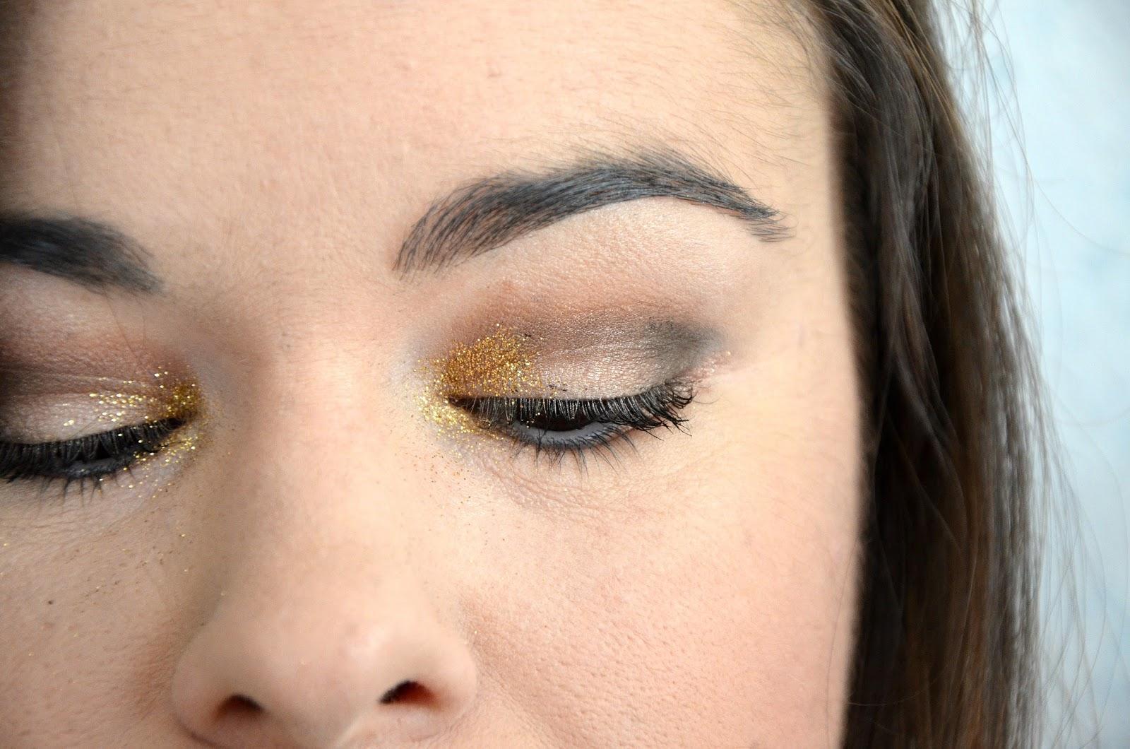 Monday Shadow Challenge paillettes dorées yeux fermés