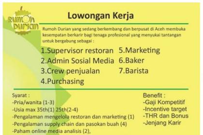 Lowongan Kerja di Rumoh Durian