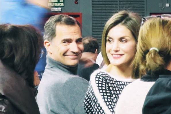 "Queen Letizia and King Felipe of Spain attend the show of ""Les Luthiers"" at Sports Centre in Madrid. (Palacio de Deportes de la Comunidad de Madrid)"