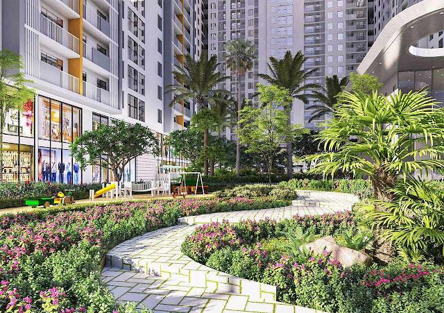 Không gian xanh chung cư Premier Berriver Long Biên
