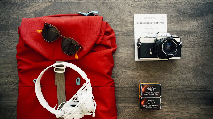 Wallpaper: Headphones, photo camera, casual, backpack