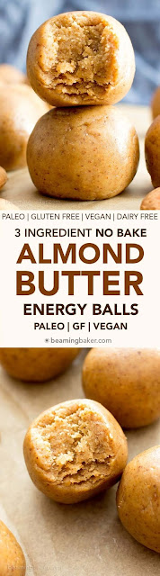 3 Ingredient No Bake Almond Butter Paleo Energy Balls (Gluten Free, Vegan)