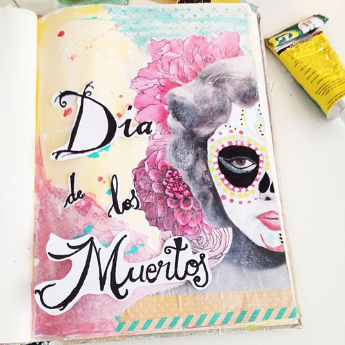 8142953272 5af880e520 Dia De Los Muertos Pastel Halloween Journal Layout | Journalling With Jenny and Aaron