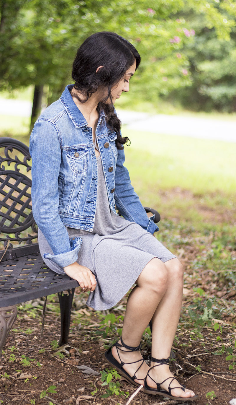 denim jacket summer dress outfit