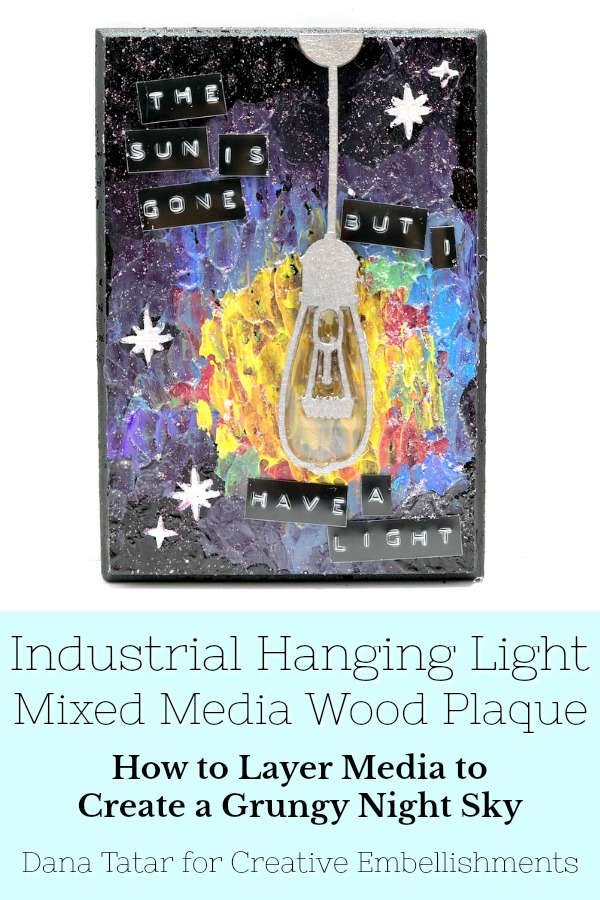 Night Sky Mixed Media Plaque with Hanging Light Bulb and Nirvana Lyrics